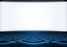 L'écran de salle de cinéma avec le bleu pose l'illustration 3d Photos stock