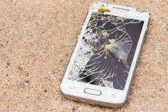 L'écran intelligent de téléphone est criqué Images libres de droits
