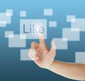 L'écran tactile de pressurage à la main aiment le bouton Image libre de droits