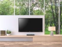 L'écran vide de télévision avec la vue 3d de nature rendent Images libres de droits