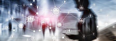 L'écran virtuel de structure d'organisation de relation de peuples de gestion de ressources humaines d'heure a mélangé la double  photo stock