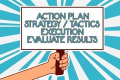 L'écriture conceptuelle de main montrant l'exécution de la tactique de stratégie de plan d'action évaluent des résultats Rétroact illustration stock