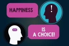 L'écriture conceptuelle de main montrant le bonheur est un choix Photo d'affaires présentant gai heureux de séjour tout le temps illustration stock