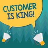 L'écriture conceptuelle de main montrant le client est roi Le service de présentation de photo d'affaires livrent attentivement e illustration libre de droits