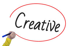 L'écriture de main de femme créent créatif avec le marqueur photos stock