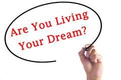 L'écriture de main sont vous vivant votre rêve ? sur le conseil transparent Image libre de droits