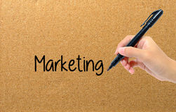 L'écriture de stylo de participation de main exprime des affaires de vente Image stock