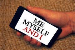 L'écriture de Word me textotent moi-même et I Concept d'affaires pour la responsabilité de prise auto-indépendante égoïste du hol Photos stock