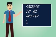 L'écriture des textes d'écriture choisissent d'être heureuse La signification de concept décident qu'étant dans un heureux gai de illustration de vecteur