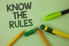 L'écriture des textes d'écriture connaissent les règles La signification de concept comprennent que les termes et conditions obti Photo stock