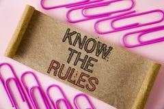 L'écriture des textes d'écriture connaissent les règles La signification de concept comprennent que les termes et conditions obti Photographie stock libre de droits