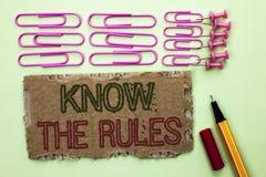 L'écriture des textes d'écriture connaissent les règles La signification de concept se rende compte des procédures de protocoles  Image libre de droits