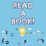 L'écriture des textes d'écriture a lu un livre La signification de concept apprécient l'activité traditionnelle de littérature po illustration de vecteur