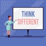 L'écriture des textes d'écriture pensent différent La signification de concept soit unique avec votre vent de pensées ou d'attitu illustration de vecteur