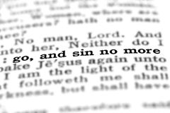 L'écriture sainte vont et Sin pas plus Photographie stock libre de droits