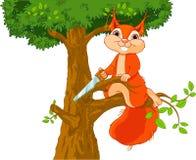 L'écureuil drôle scie la branche illustration stock