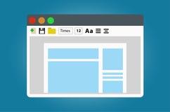 L'éditeur de texte, ouvrent le document pour l'édition illustration de vecteur