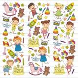 L'éducation d'école préscolaire de crèche de jardin d'enfants avec des enfants de modèle de griffonnage d'enfants jouent et étudi illustration stock