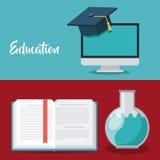 L'éducation fournit l'icône d'isolement par concept Photos stock