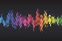 L'égaliseur sain de Digital avec l'arc-en-ciel coloré pointille sur le fond foncé Illustration de vecteur illustration de vecteur