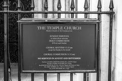 L'église célèbre de temple dans la ville de Londres - LONDRES - la GRANDE-BRETAGNE - 19 septembre 2016 Image libre de droits