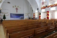 L'église de Houxi préparent pour célébrer le réveillon de Noël Image stock