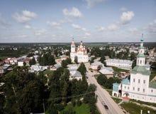 L'église de nativité, Totma, Russie Formes architecturales réminiscentes d'un bateau Vue de ci-avant photographie stock libre de droits