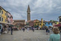 L'église de San Martino dans Burano Photos libres de droits