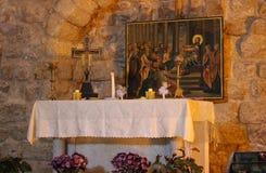 L'église de synagogue est une petite église chrétienne au coeur de Nazareth, Israël images stock