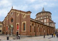 L'église et le couvent du delle Grazie, la maison du dernier dîner de Leonardo, Milan, Italie de Santa Maria photographie stock libre de droits