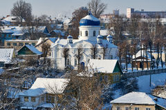 L'église face à l'hiver Image libre de droits