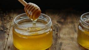 L'égoutture de miel de la cuillère de miel, une goutte, sur le fond noir, se ferment  banque de vidéos