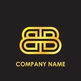 L'or élégant de BB de lettre initiale a reflété le calibre minuscule de logo à l'arrière-plan noir Photos libres de droits