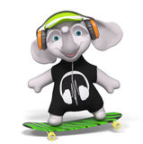 L'éléphant 3d d'isolement par skateboarding d'adolescent rendent Photo stock