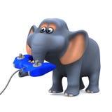 l'éléphant 3d joue un jeu vidéo Photo libre de droits