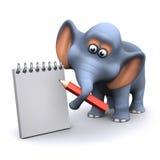 l'éléphant 3d prend des notes Image libre de droits