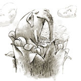 L'éléphant féerique boit du nectar d'une magie géante Photo libre de droits