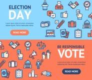 L'élection signe l'ensemble horizontal de bannière avec des icônes d'ensemble de couleur Vecteur illustration libre de droits