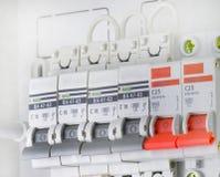 L'électricité de disjoncteurs Images stock