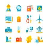 L'électricité, mètre électrique, icônes plates de vecteur de matériel électrique illustration libre de droits