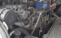 L'électronique et le moteur du chariot élévateur vieux Photo stock