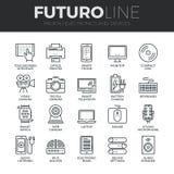 L'électronique et ligne icônes de Futuro de dispositifs réglées Photo stock