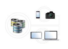 L'électronique reliée à un dispositif de stockage Photographie stock libre de droits