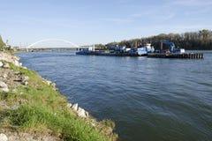 L'élimination des piliers de pont à Bratislava Photo stock