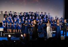 L'éloquence de Noël de multimédia - à Bethlehem a exécuté par le Filharmonia Futura et Fermata de choeur Cracovie poland photographie stock libre de droits