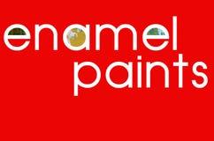 L'émail de ` d'inscription peint le ` sur le fond rouge Photos libres de droits