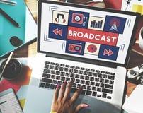 L'émission communiquent le concept de connexion d'icône de musique illustration libre de droits
