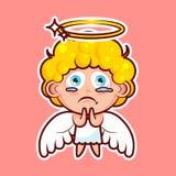 L'émoticône d'emoji d'autocollant, émotion prient, demandent, prient, des larmes dans les yeux, entité divine douce de caractère  Photo libre de droits