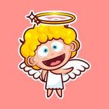 L'émoticône d'emoji d'autocollant, émotion, salut, bonjour ondulant son caractère heureux d'illustration de vecteur de salutation illustration stock