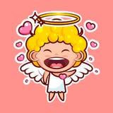 L'émoticône d'emoji d'autocollant, émotion, vecteur a isolé l'entité divine douce enamourée heureuse de caractère d'illustration, illustration libre de droits